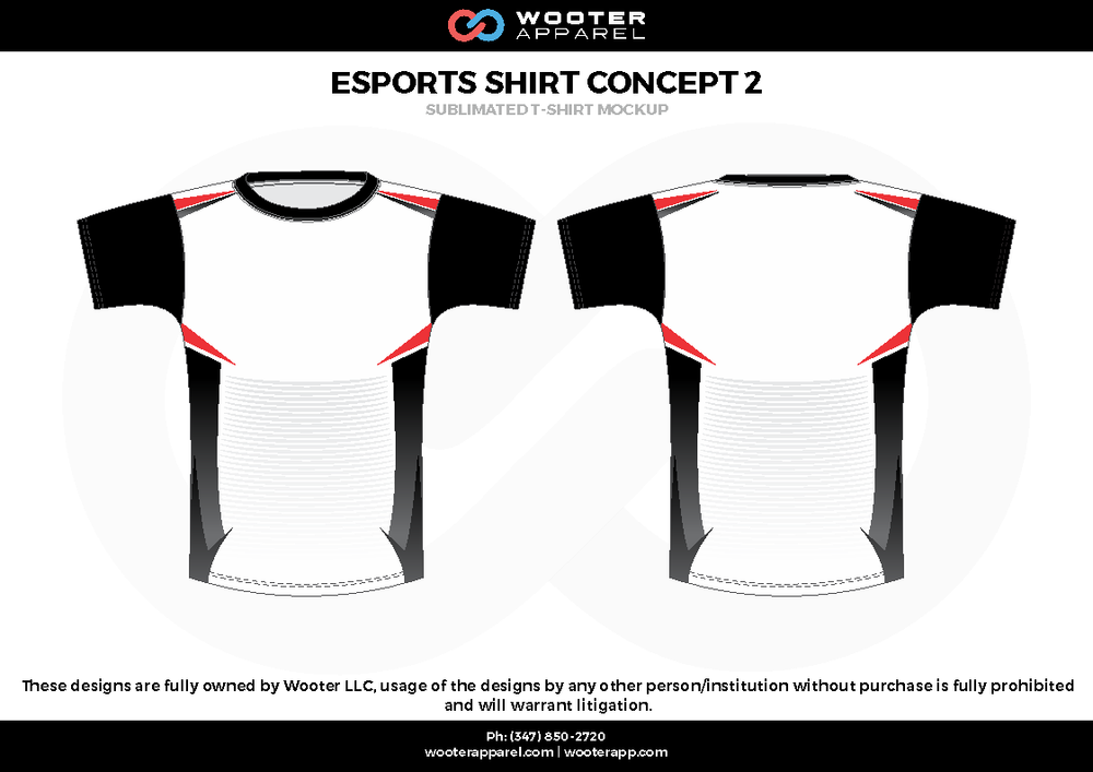 ESPORTS SHIRT CONCEPT 2 black white red e-sports jerseys, shirts, uniforms