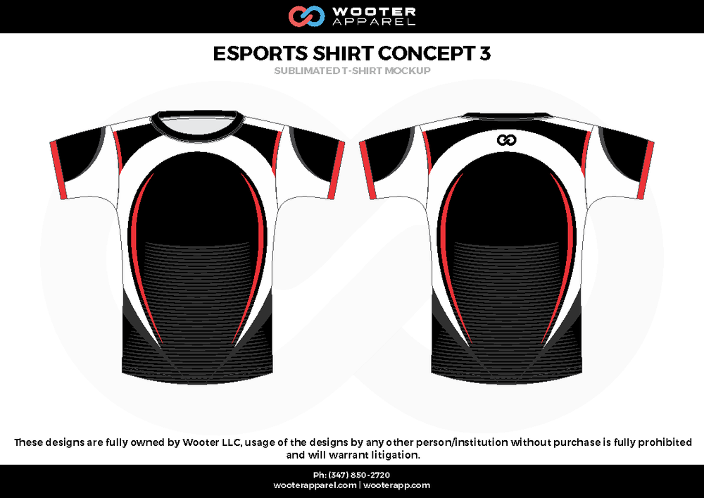 ESPORTS SHIRT CONCEPT 3 black white red e-sports jerseys, shirts, uniforms