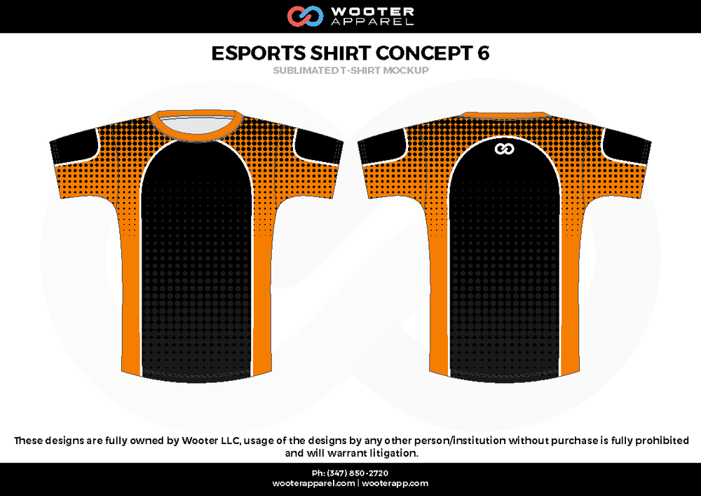 ESPORTS SHIRT CONCEPT 6 black orange white e-sports jerseys, shirts, uniforms