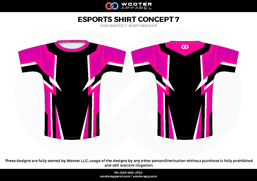 ESPORTS SHIRT CONCEPT 7 pink black white e-sports jerseys, shirts, uniforms