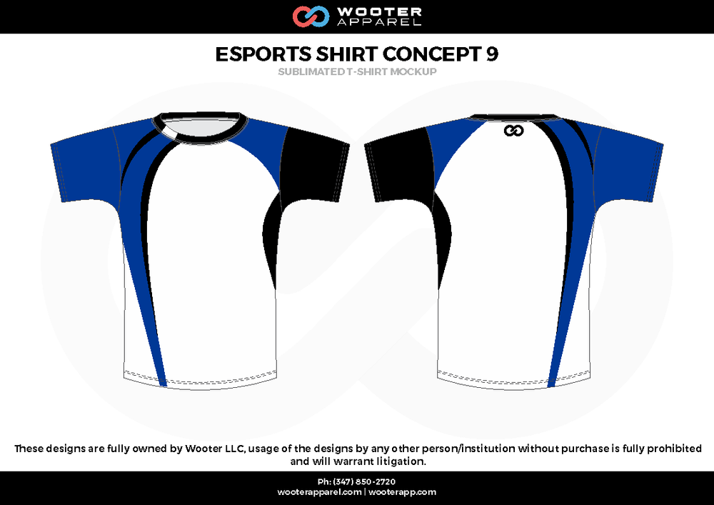 ESPORTS SHIRT CONCEPT9 white blue black e-sports jerseys, shirts, uniforms