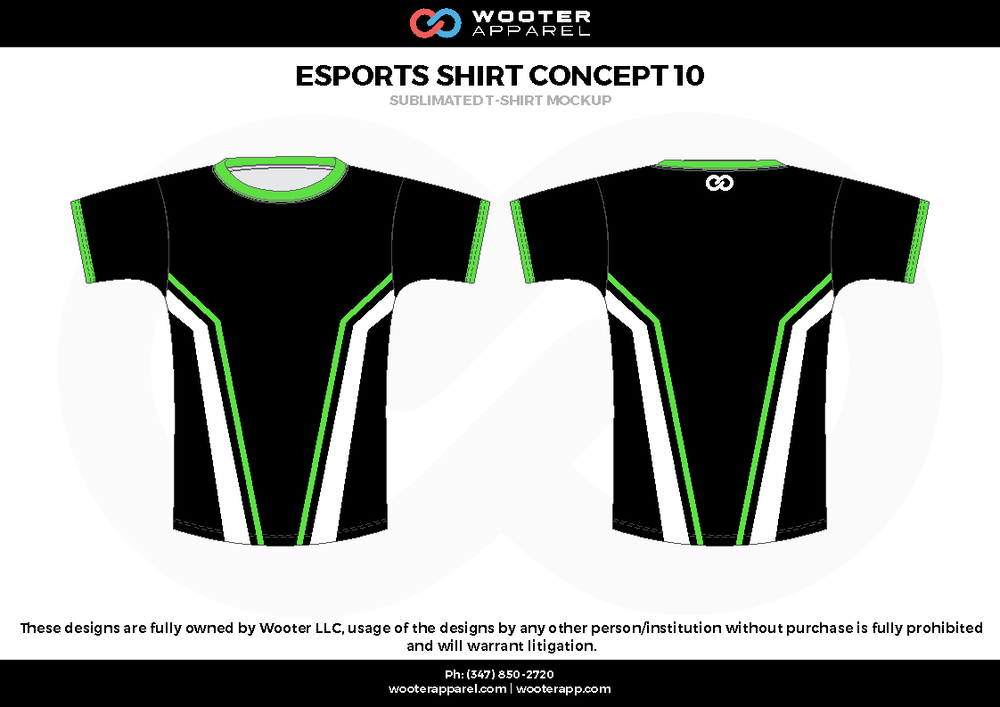 ESPORTS SHIRT CONCEPT 10 black white green e-sports jerseys, shirts, uniforms
