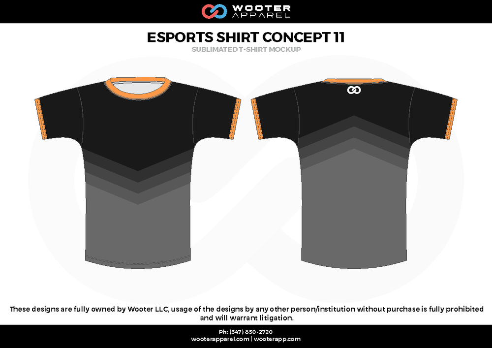 ESPORTS SHIRT CONCEPT11 black orange e-sports jerseys, shirts, uniforms
