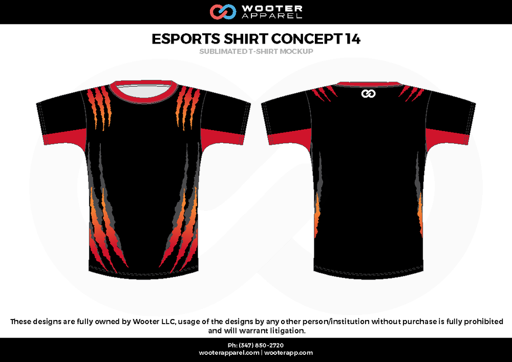 ESPORTS SHIRT CONCEPT 14 black red e-sports jerseys, shirts, uniforms