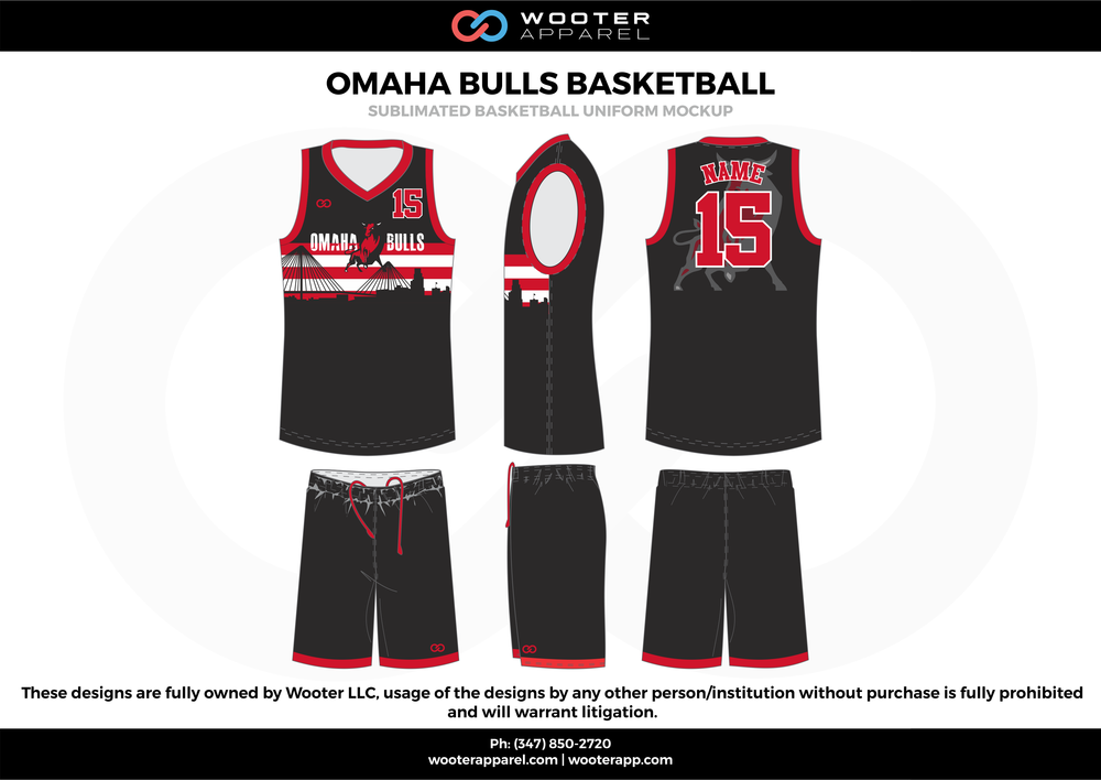 Omaha Bulls Basketball Black Red and White  Basketball uniforms jerseys, shorts