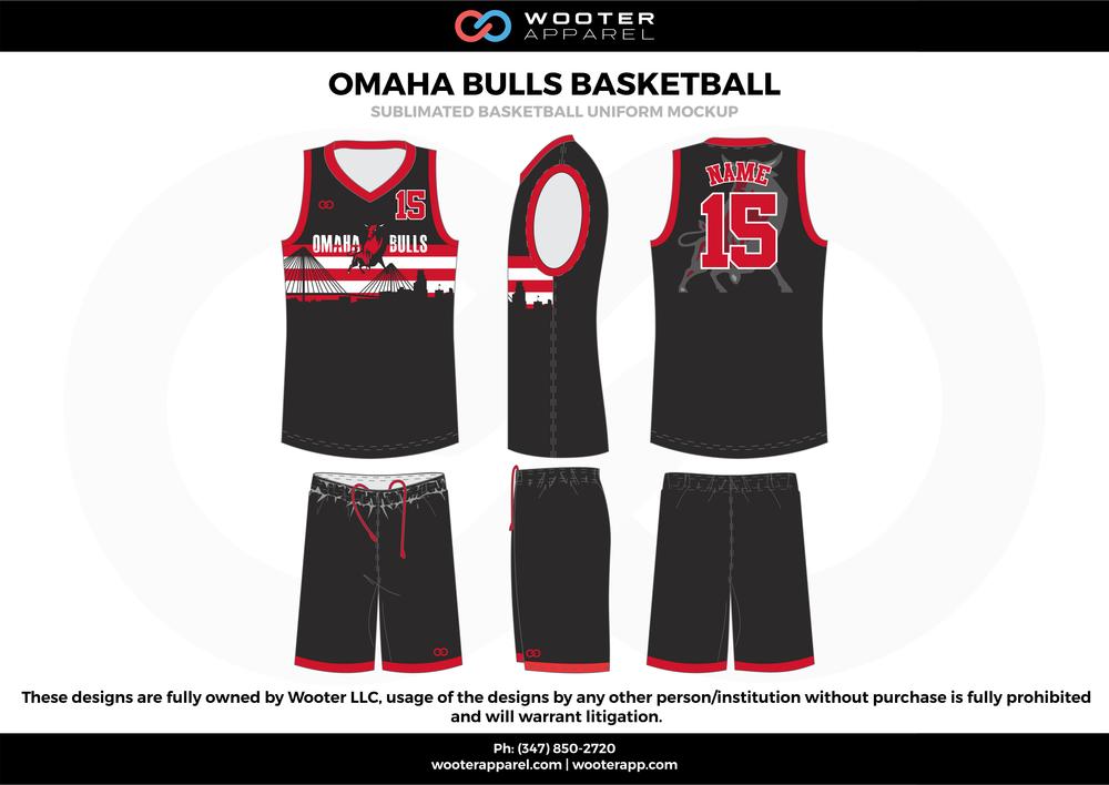 Omaha Bulls Basketball Black Red and White Basketball uniforms jerseys c1b8884c1