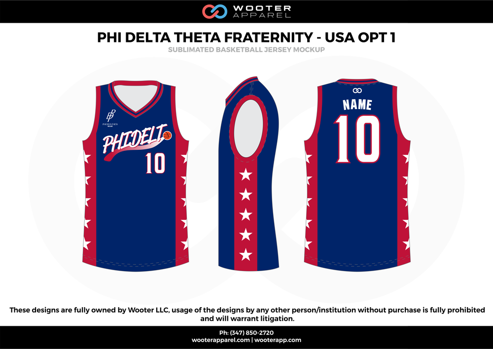 Phi Delta Fraternity - USA OPT 1  Blue Red and White  Basketball uniforms jerseys