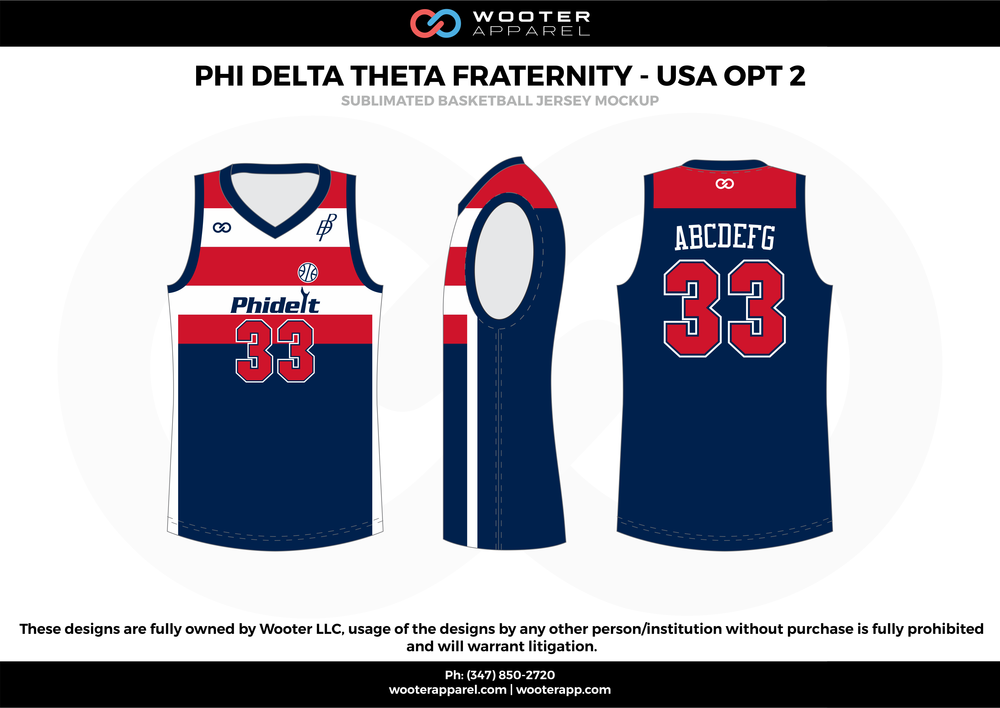 Phi Delta Fraternity - USA OPT 2 Blue Red and White  Basketball uniforms jerseys