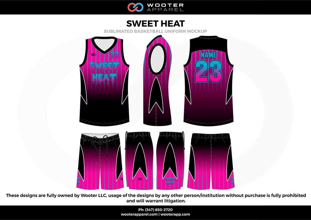 Sweet Heat Pink Blue and Black  Basketball uniforms jerseys shorts