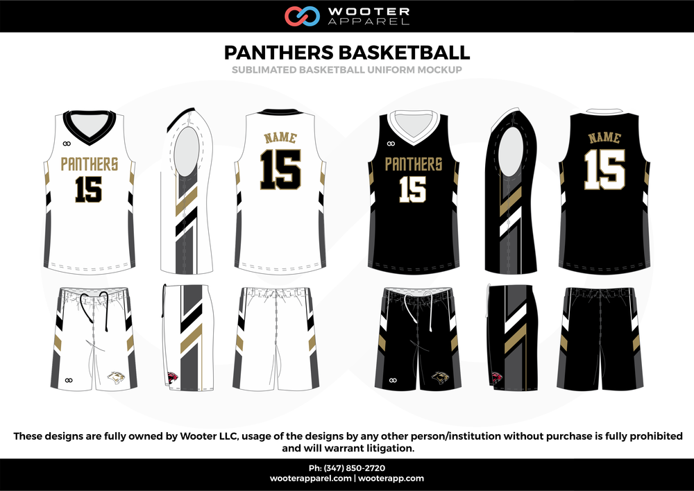 c6522c0f7af9 Panthers Basketball White Black Gray and Gold Basketball uniforms jerseys  shorts