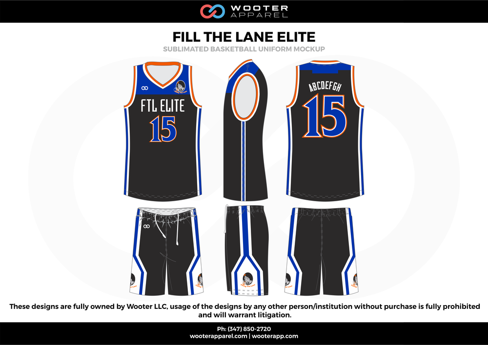 Fill The Lane Elite Black Blue Red and White  Basketball uniforms jerseys shorts