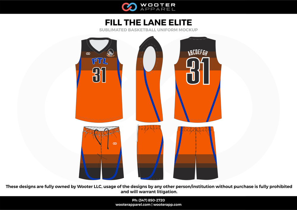 Fill The Lane Elite Orange Blue Black and White  Basketball uniforms jerseys shorts