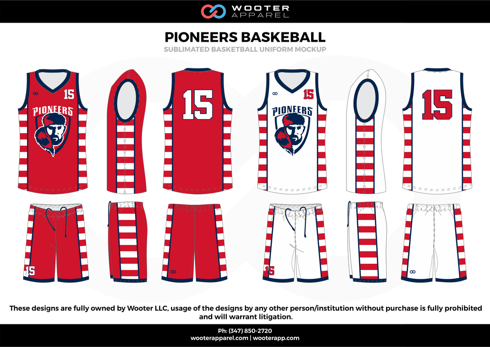 Pioneers Basketball Red White and Blue  Basketball uniforms jerseys shorts