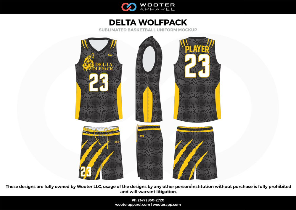 DELTA WOLFPACK Yellow White Black Grey  Basketball uniforms jerseys shorts