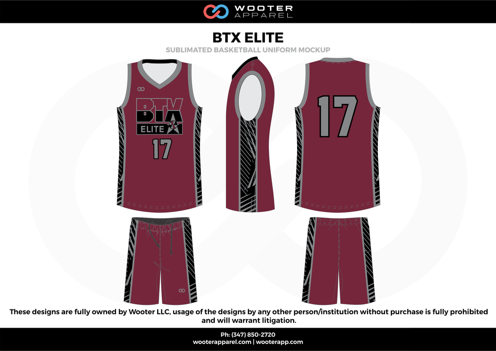 BTX Elite Purple Black and Grey  Basketball uniforms jerseys shorts