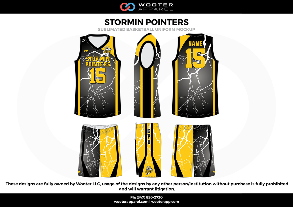 Stormin Pointers Yellow Black White gray  Basketball uniforms jerseys shorts