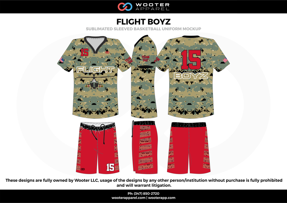 Flight Boyz Red White  Black yellow gray  Basketball uniforms jerseys shirts shorts