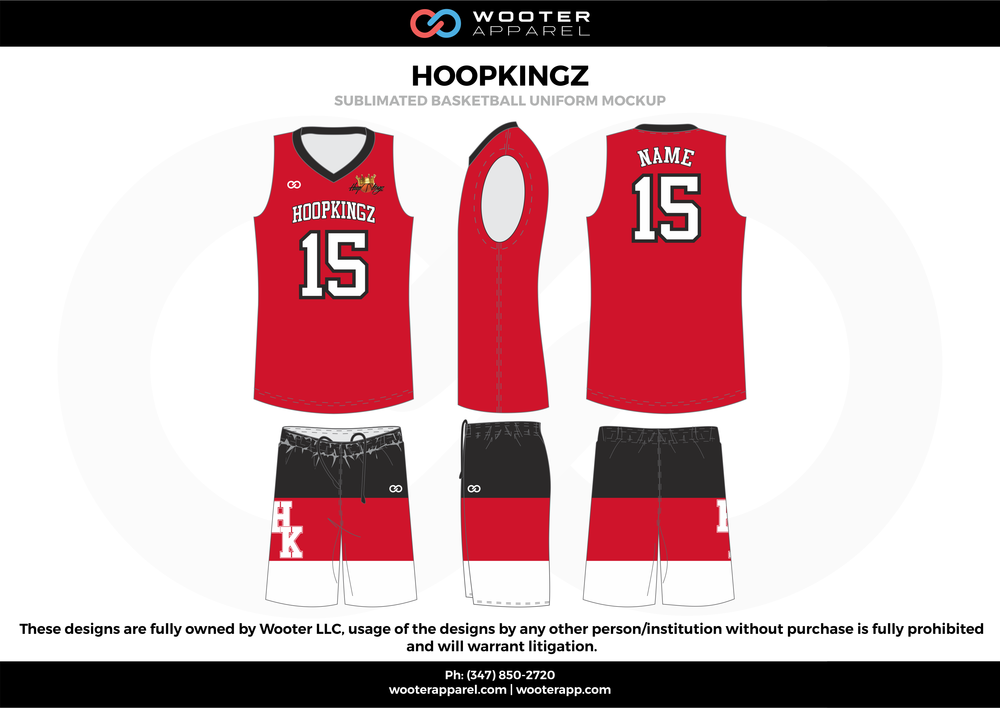 Hoopkingz Red Black and White  Basketball uniforms jerseys shorts