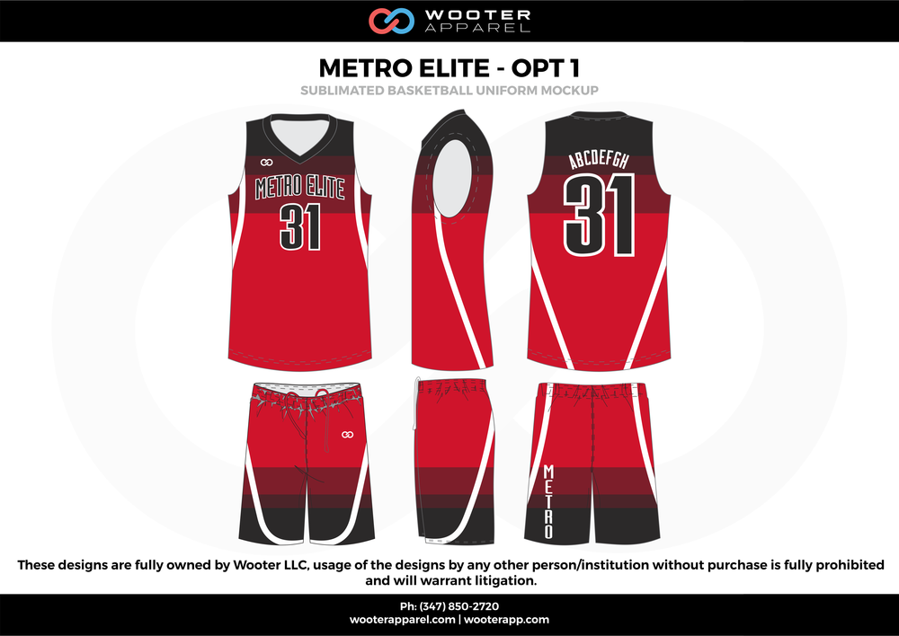 Metro Elite - OPT 1 Red Black and White  Basketball uniforms jerseys shorts