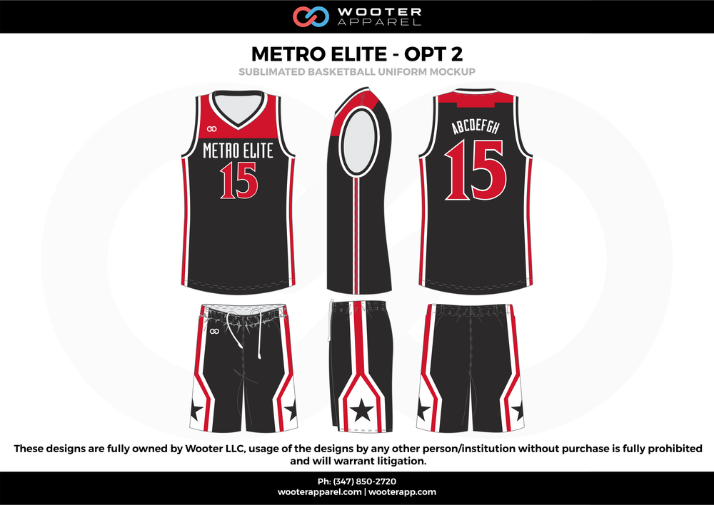 Metro Elite - OPT 2 Black Red and White  Basketball uniforms jerseys shorts