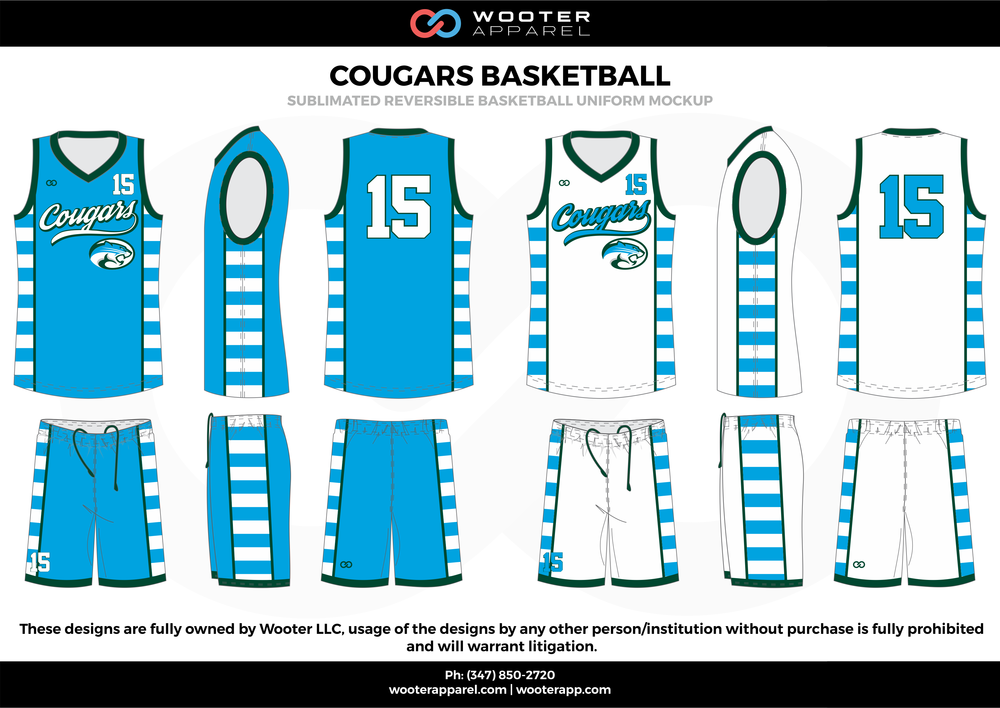 Cougars Basketball Blue White and Black  Basketball uniforms jerseys shorts