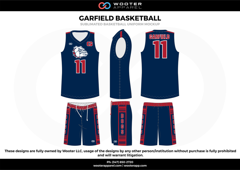 Carfield Basketball Blue Red and White  Basketball uniforms jerseys shorts