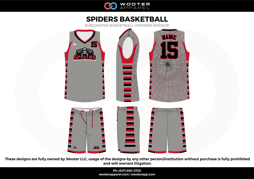 Spiders Basketball Red Black and Gray  Basketball uniforms jerseys shorts