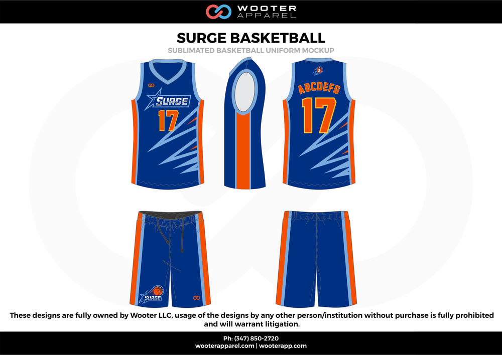 Surge Basketball Blue Red and White  Basketball uniforms jerseys shorts