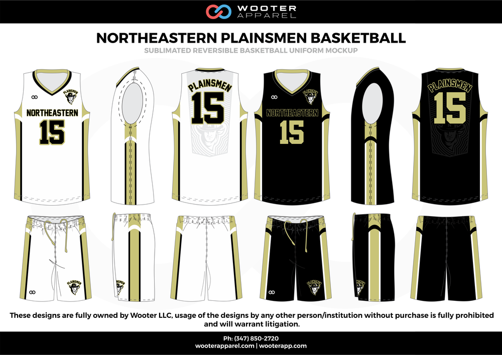 Northeastern Plainsmen Basketball Black White and Gold  Basketball uniforms jerseys shorts