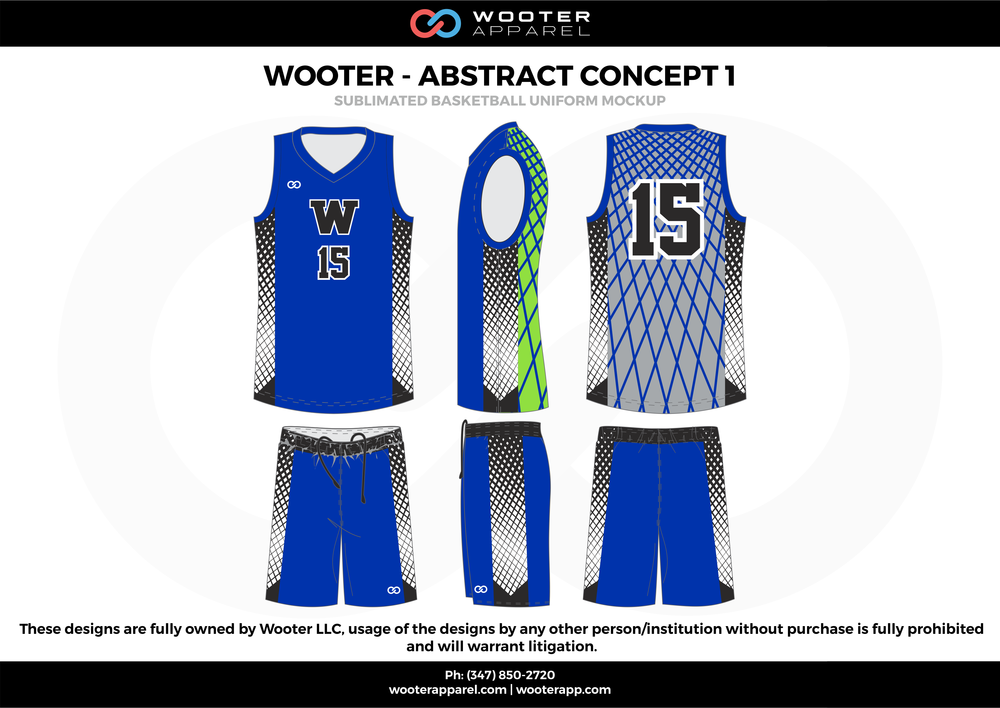 Wooter - Abstract Concept 1 Blue Black Green and white  Basketball uniforms jerseys shorts