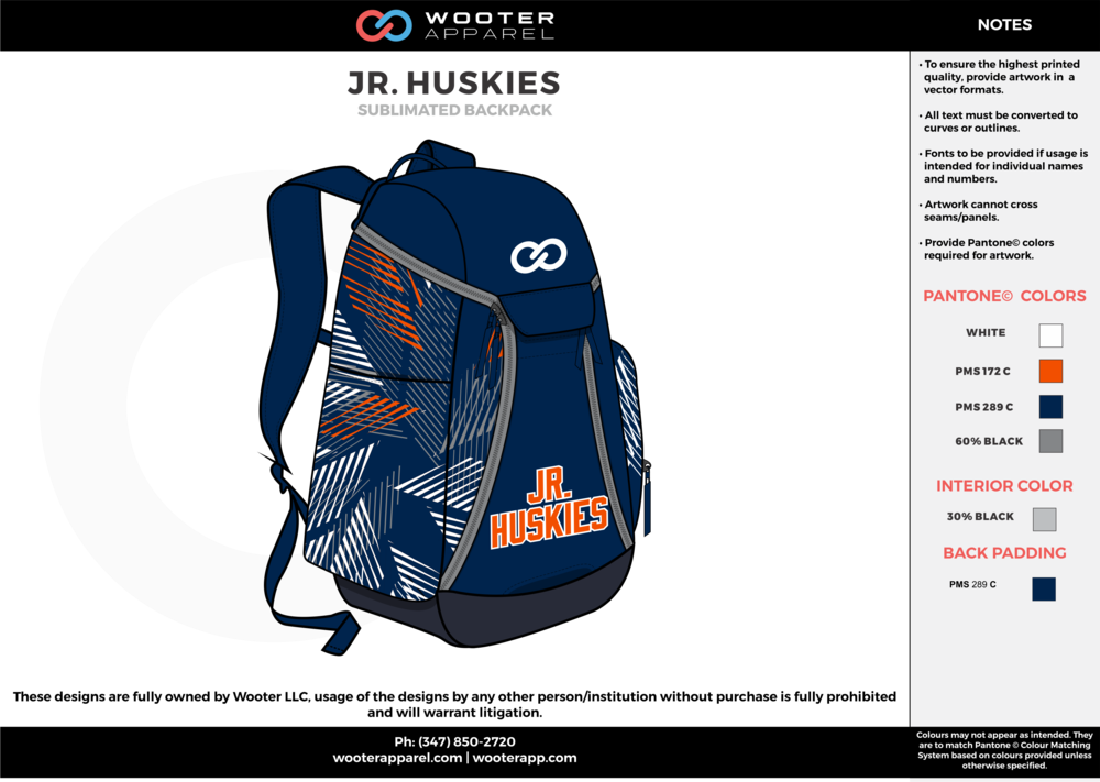 1f34e49689 HUSKIES navy blue gray orange Custom Basketball Backpacks