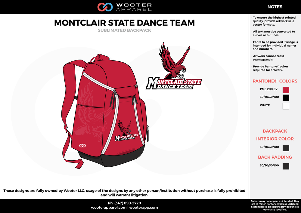 7252fe17c5 MONTCLAIR STATE DANCE TEAM red black white Custom Basketball Backpacks