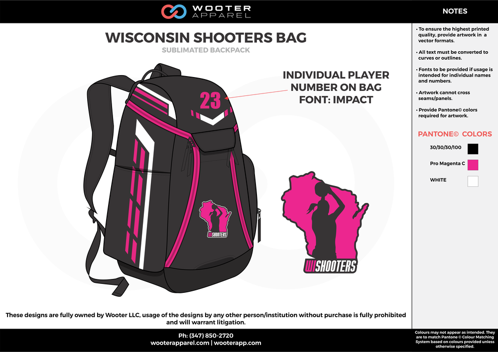 WISCONSIN SHOOTERS BAG pink black white  Custom Basketball Backpacks, Bags, Nike Elite Bags