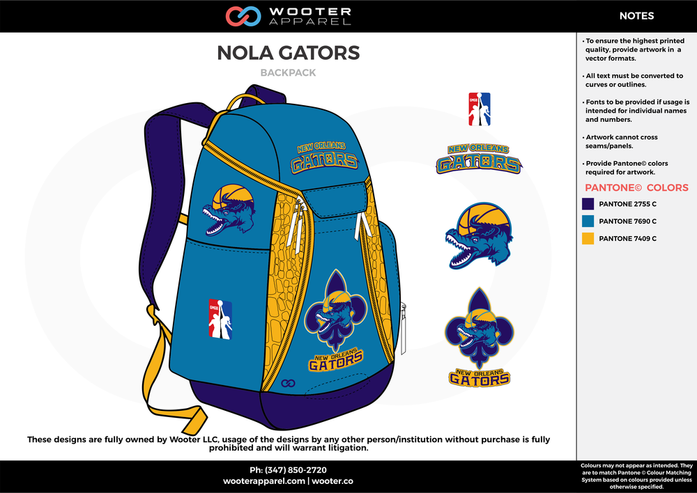 NOLA GATORS sky blue yellow  Custom Basketball Backpacks, Bags, Nike Elite Bags