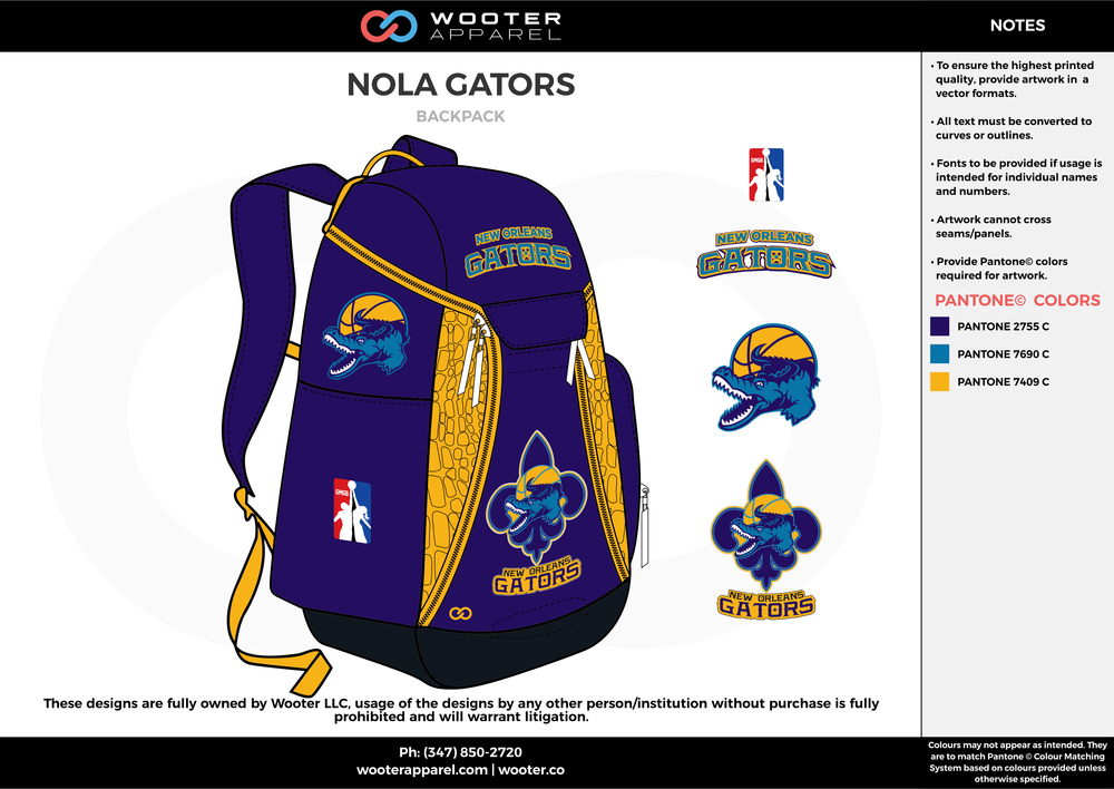 NOLA GATORS blue sky yellow  Custom Basketball Backpacks, Bags, Nike Elite Bags