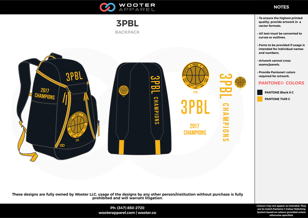 3PBL black yellow  Custom Basketball Backpacks, Bags, Nike Elite Bags