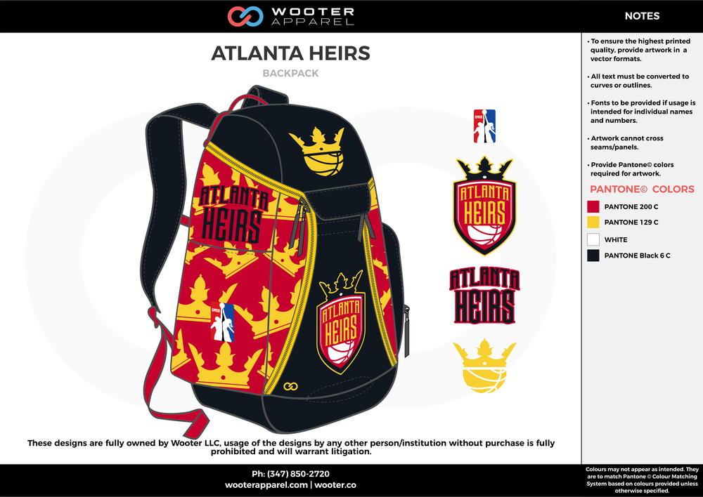 ATLANTA HEIRS red yellow black white  Custom Basketball Backpacks, Bags, Nike Elite Bags