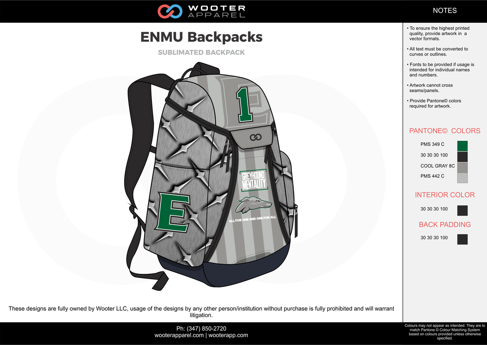 575629f2101e ENMU Backpacks gray green black Custom Basketball Backpacks