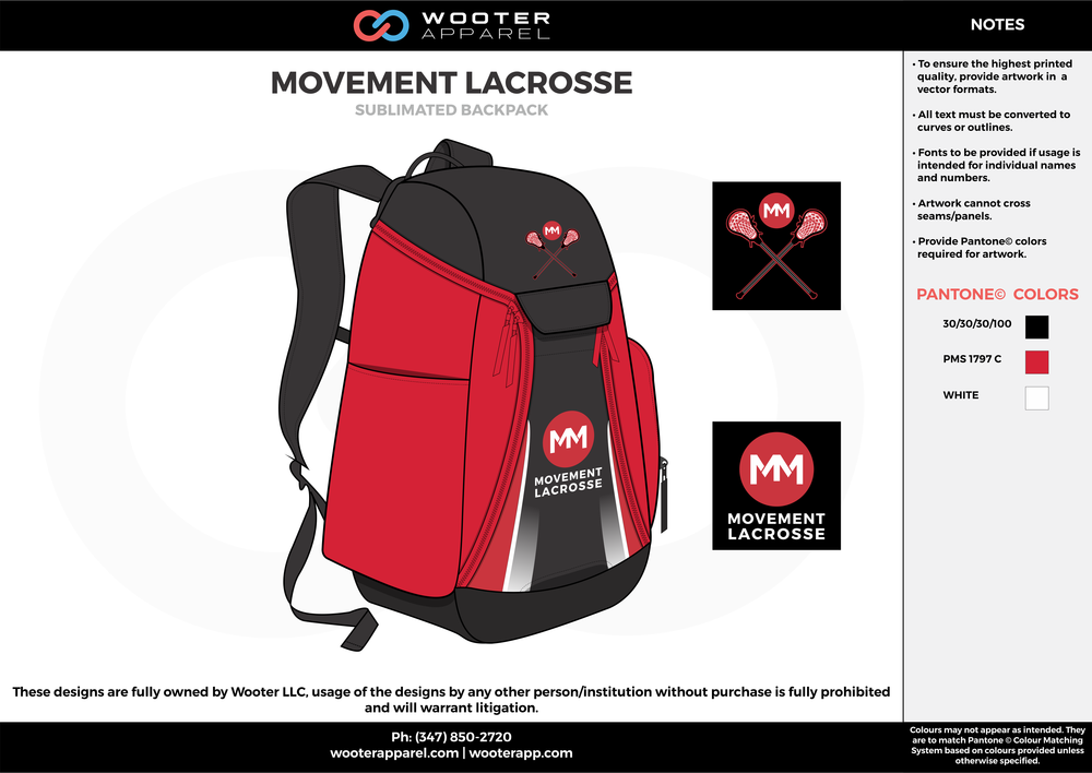 MOVEMENT LACROSSE red black white  Custom Basketball Backpacks, Bags, Nike Elite Bags