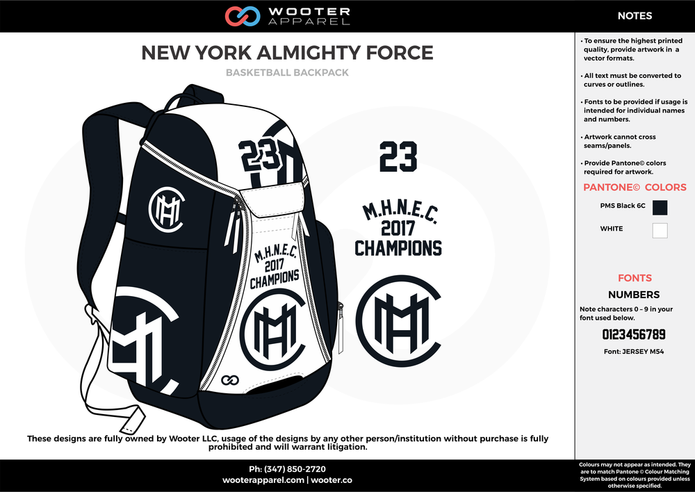 542a67b2e5ad NEW YORK ALMIGHTY FORCE black   white Custom Basketball Backpacks