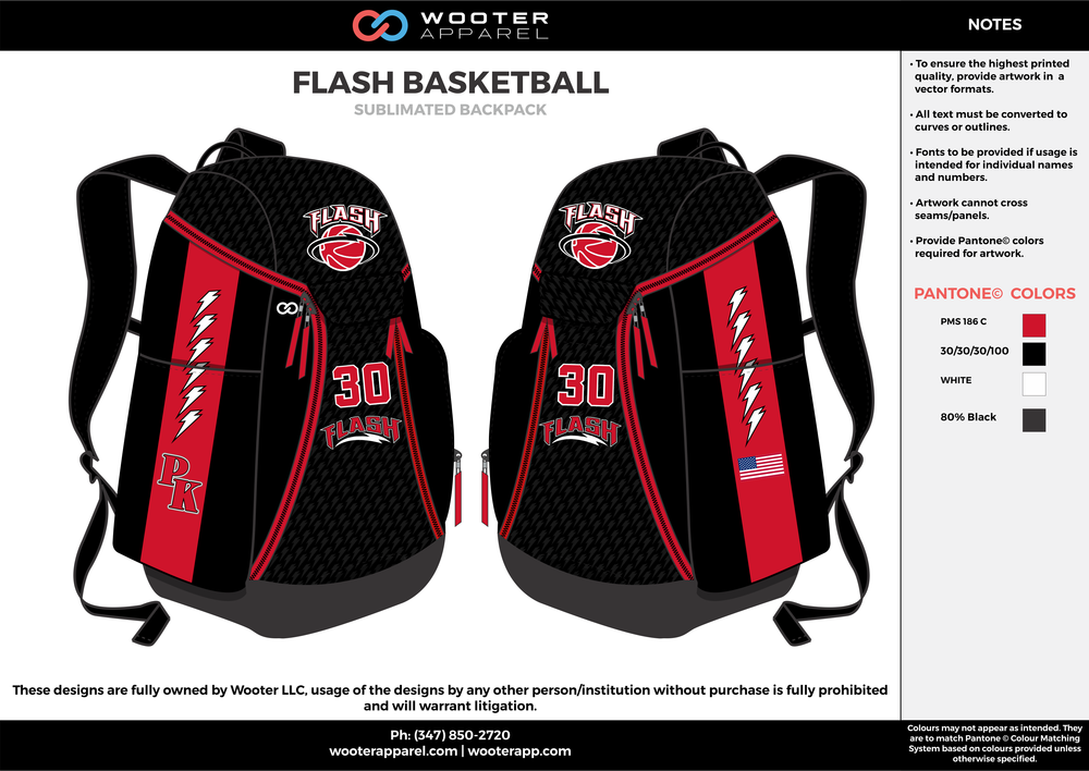 427bf9a6c633 FLASH BASKETBALL black red white gray Custom Basketball Backpacks