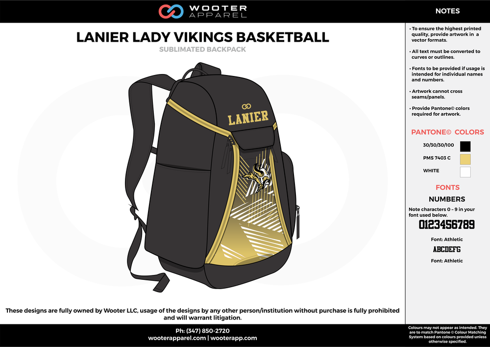 Lanier Lady Vikings Basketball - Sublimated Backpack - 2017.png