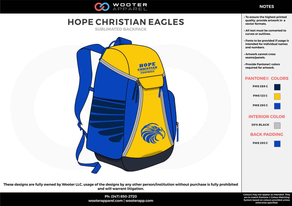 HOPE CHRISTIAN EAGLES blue yellow gray  Custom Basketball Backpacks, Bags, Nike Elite Bags