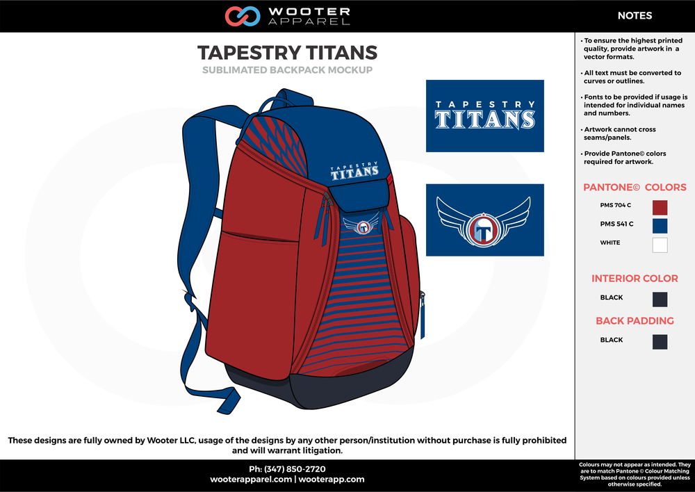TAPESTRY TITANS red blue white black  Custom Basketball Backpacks, Bags, Nike Elite Bags