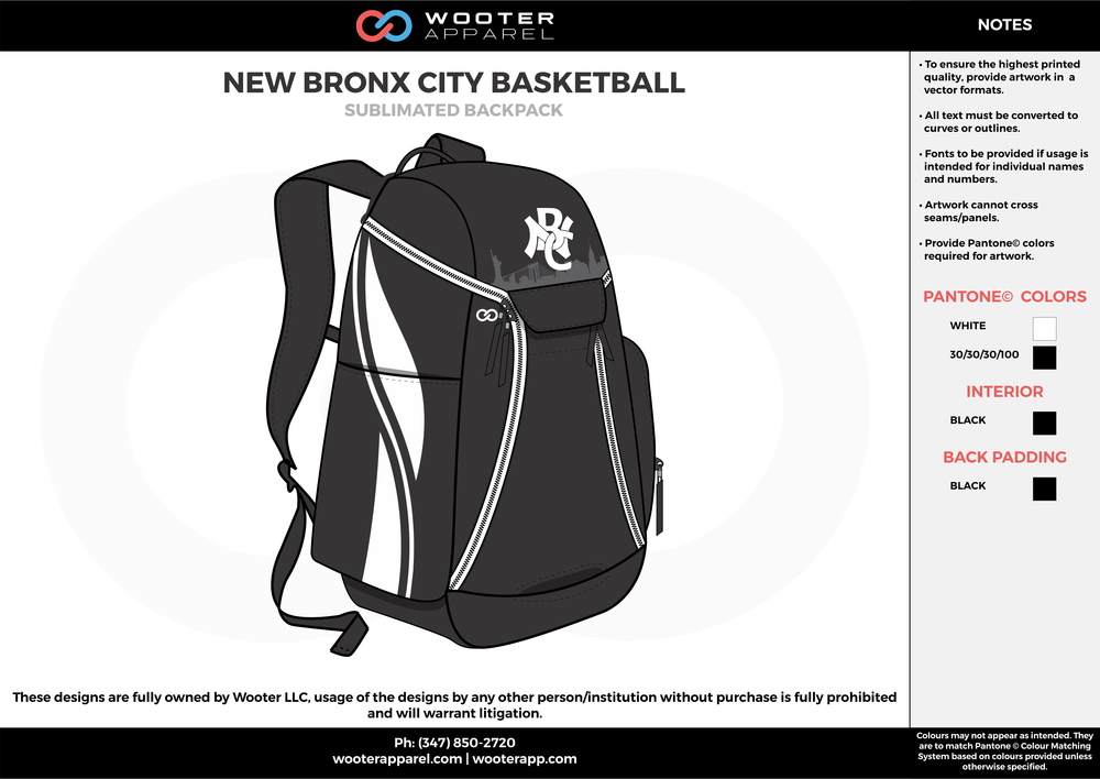 NEW BRONX CITY BASKETBALL black white  Custom Basketball Backpacks, Bags, Nike Elite Bags