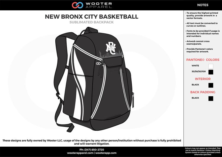 ba2f2308c0f NEW BRONX CITY BASKETBALL black white Custom Basketball Backpacks, Bags,  Nike Elite Bags