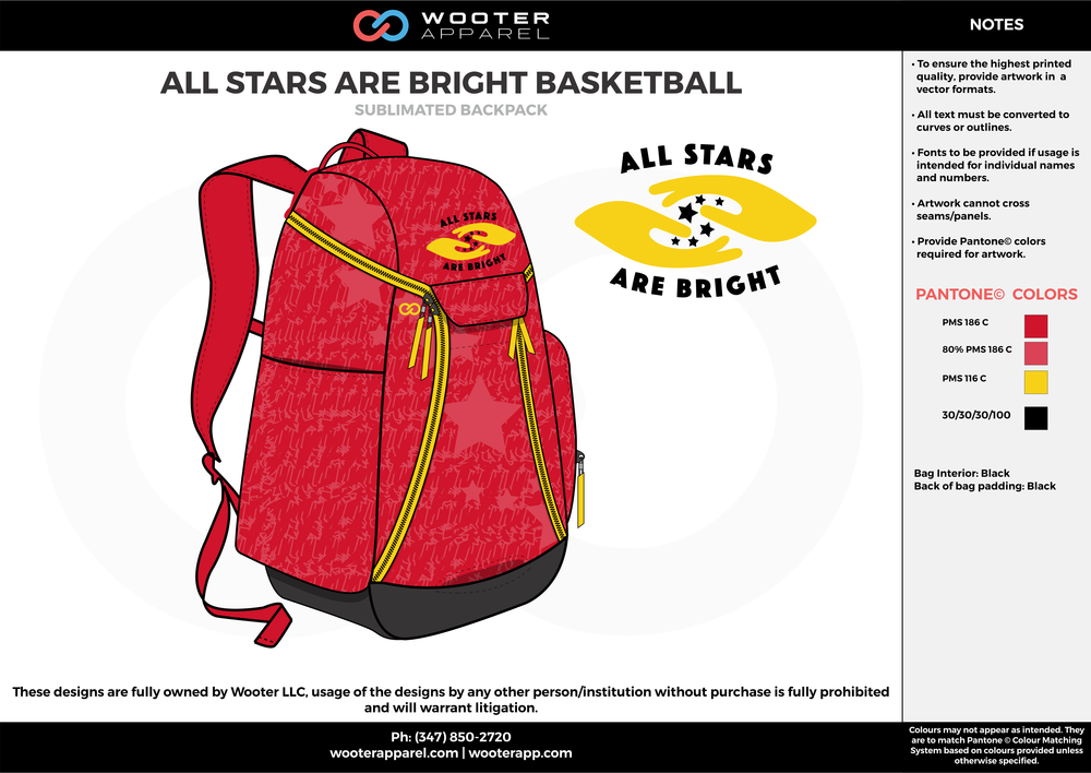 All Stars Are Bright Basketball - Sublimated Backpack - 2017.png