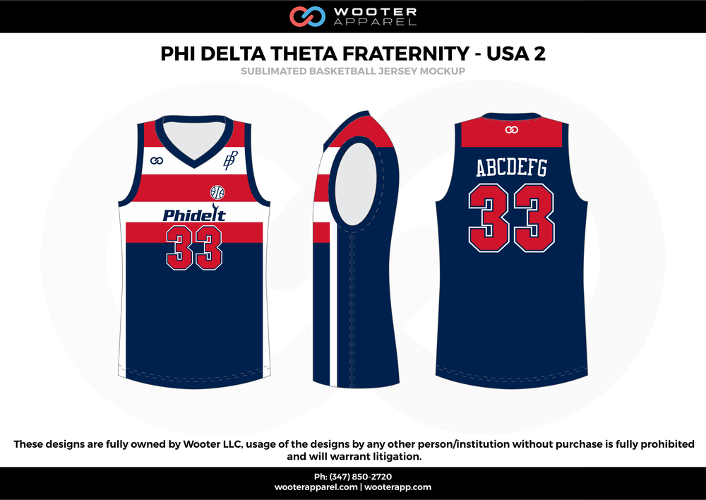 PHI DELTA THETA FRATERNITY - USA 2  blue red white basketball uniforms jerseys