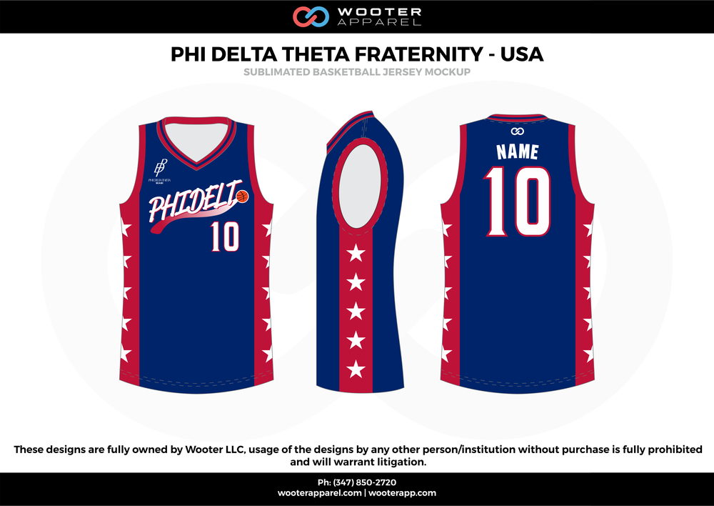 PHI DELTA THETA FRATERNITY - USA blue red white basketball uniforms jerseys