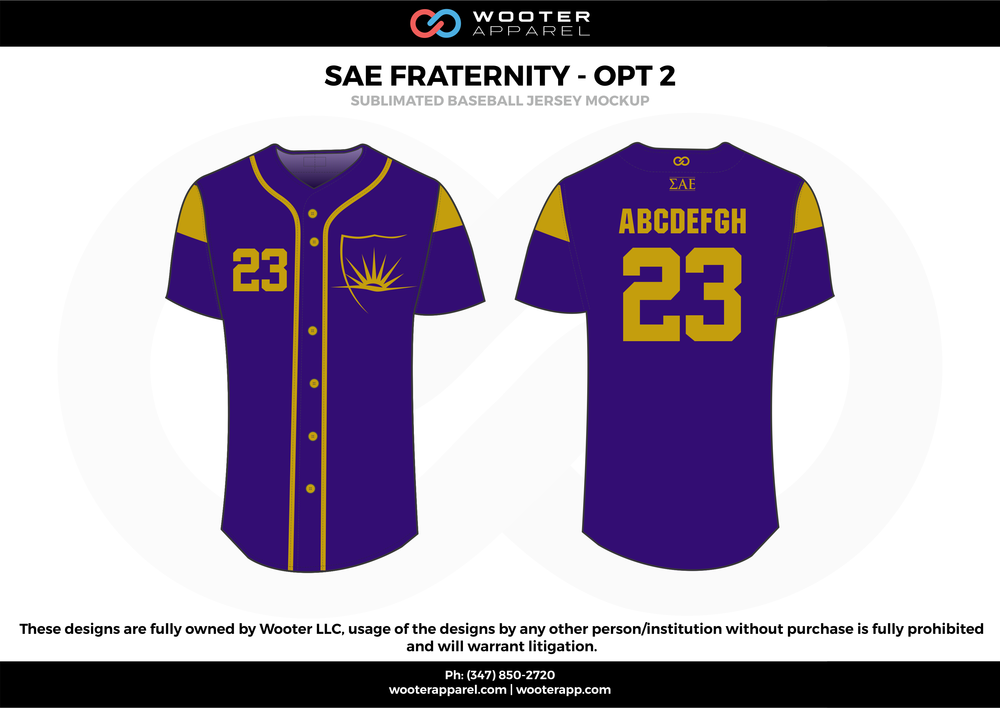 SAE FRATERNITY - OPT 2 purple gold Baseball uniforms jerseys shirts